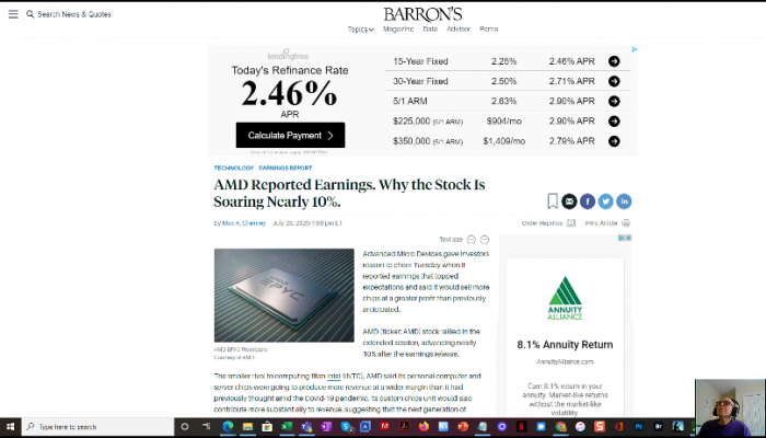 Screenshort of the first frame of a recording of comments by Ira Michael Blonder, CEO and Founder of IMB Enterprises, Inc. on AMD's second quarter fiscal year 2020 earnings report
