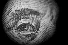 picture of Benjamin Franklin's left eye from a US dollar bill