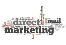 text collage depicting the phrase direct marketing